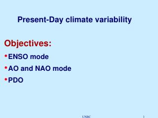 Present-Day climate variability