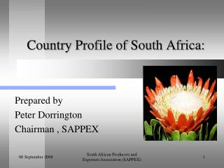 Country Profile of South Africa: