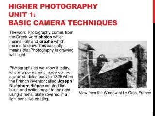 Higher Photography Unit 1: Basic Camera Techniques