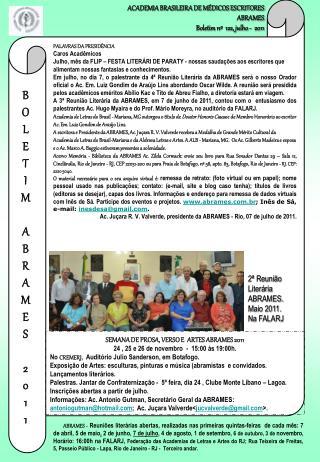 ACADEMIA BRASILEIRA DE M DICOS ESCRITORES ABRAMES Boletim n   122, julho -  2011