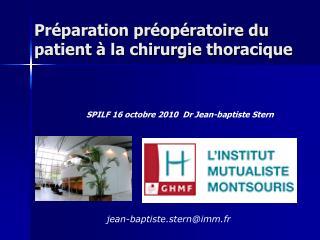 Pr paration pr op ratoire du patient   la chirurgie thoracique