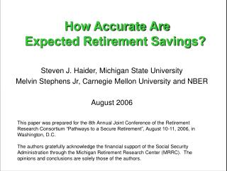 How Accurate Are Expected Retirement Savings
