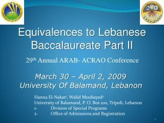 Hanna El-Nakat1, Walid Moubayed2 University of Balamand, P. O. Box 100, Tripoli, Lebanon 1- Division of Special Programs