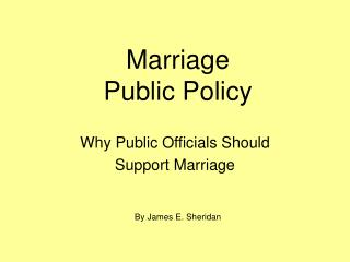 Marriage Public Policy