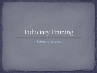 Fiduciary Training
