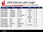 DTS STOCK LIST