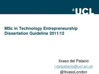 MSc in Technology Entrepreneurship Dissertation Guideline 2011