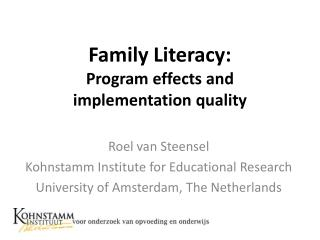 Family Literacy:  Program effects and implementation quality