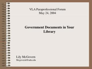 Government Documents in Your Library