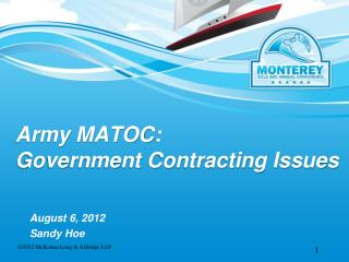 Army MATOC:  Government Contracting Issues