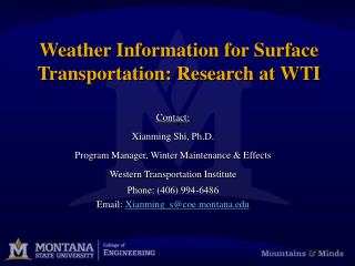 Weather Information for Surface Transportation: Research at WTI