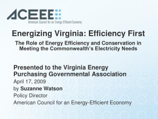 Energizing Virginia: Efficiency First  The Role of Energy Efficiency and Conservation in Meeting the Commonwealth s Elec