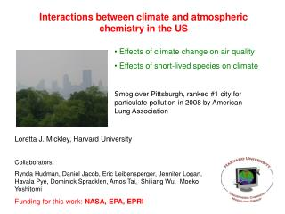 Interactions between climate and atmospheric chemistry in the US