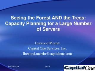 Seeing the Forest AND the Trees: Capacity Planning for a Large Number of Servers