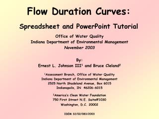 Flow Duration Curves:  Spreadsheet and PowerPoint Tutorial