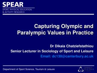 Capturing Olympic and  Paralympic Values in Practice