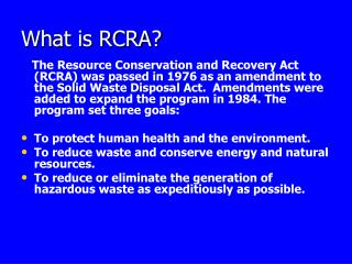 What is RCRA