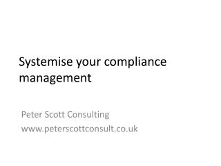 Systemise your compliance management