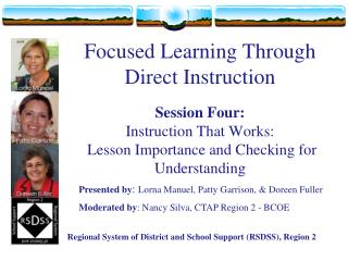 Focused Learning Through Direct Instruction  Session Four: Instruction That Works:   Lesson Importance and Checking for