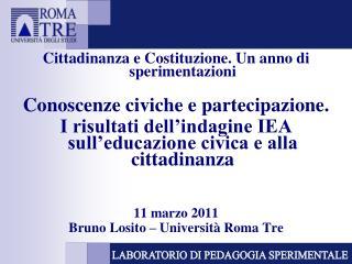 Cittadinanza e Costituzione. Un anno di sperimentazioni  Conoscenze civiche e partecipazione.  I risultati dell indagine