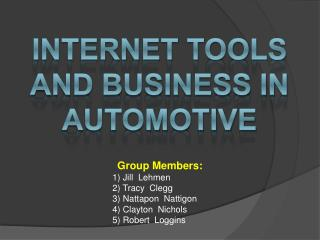 Internet Tools and business in Automotive