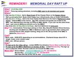 REMINDER    MEMORIAL DAY RAFT UP