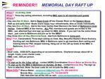 REMINDER    MEMORIAL DAY RAFT UP