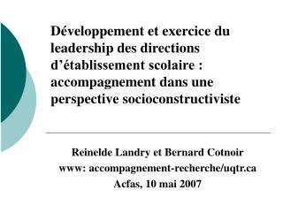 D veloppement et exercice du leadership des directions d  tablissement scolaire : accompagnement dans une perspective so