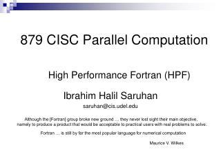 879 CISC Parallel Computation