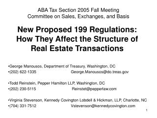 New Proposed 199 Regulations: How They Affect the Structure of Real Estate Transactions