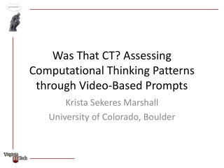 Assessing Computational Thinking