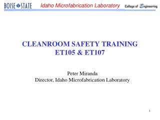 CLEANROOM SAFETY TRAINING ET105  ET107