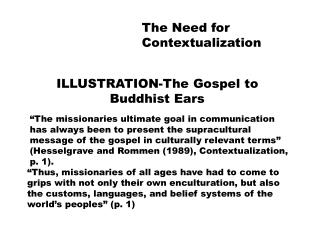 The Need for Contextualization