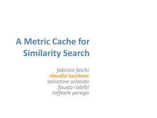 A Metric Cache for Similarity Search