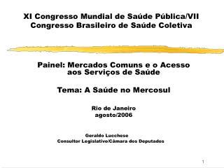 XI Congresso Mundial de Sa de P blica