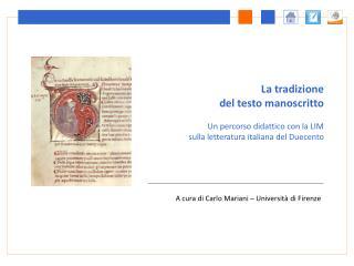 A cura di Carlo Mariani   Universit  di Firenze