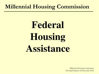 Millennial Housing Commission