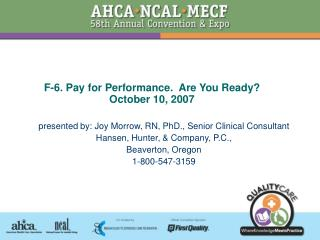 F-6. Pay for Performance.  Are You Ready October 10, 2007