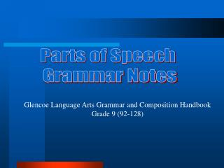 Parts of Speech  Grammar Notes
