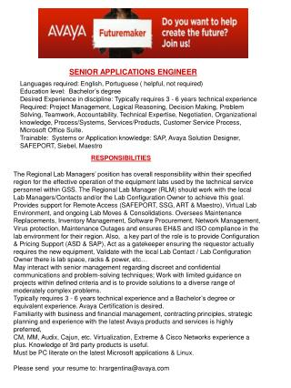 SENIOR APPLICATIONS ENGINEER