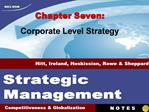 Chapter Seven: Corporate Level Strategy