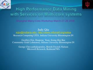 High Performance Data Mining  with Services on Multi-core systems