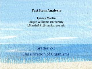 Grades 2-3 Classification of Organisms
