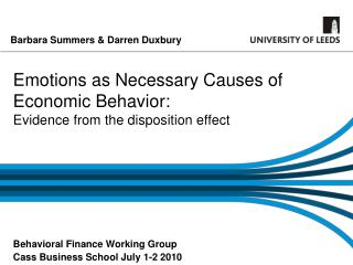 Emotions as Necessary Causes of Economic Behavior: Evidence from the disposition effect