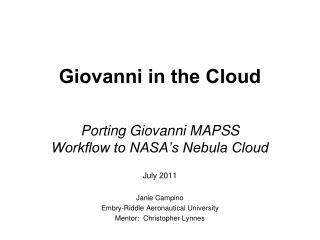 Giovanni in the Cloud