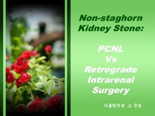 Non-staghorn Kidney Stone:   PCNL  Vs  Retrograde Intrarenal Surgery