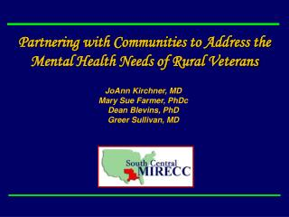 Partnering with Communities to Address the Mental Health Needs of Rural Veterans
