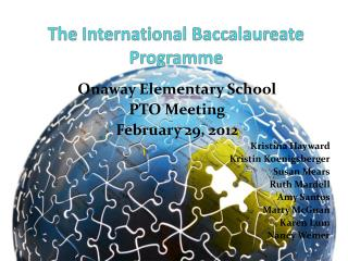 The International Baccalaureate Programme