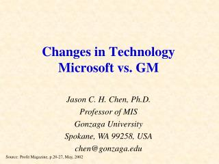Changes in Technology Microsoft vs. GM