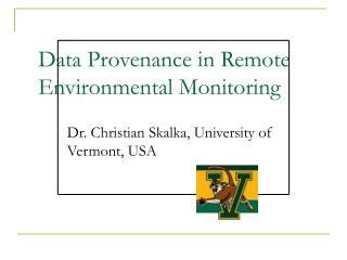 Data Provenance in Remote Environmental Monitoring